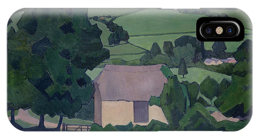 Landscape IPhone X Case featuring the painting Landscape With Thatched Barn by Robert Polhill Bevan