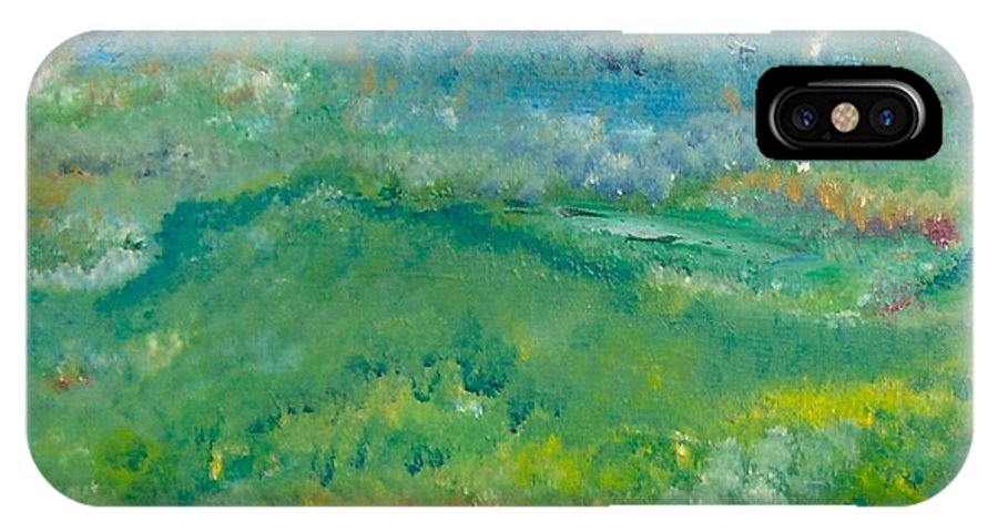 Pointillism IPhone X Case featuring the painting Landschaft Bei Arles by Michael Puya