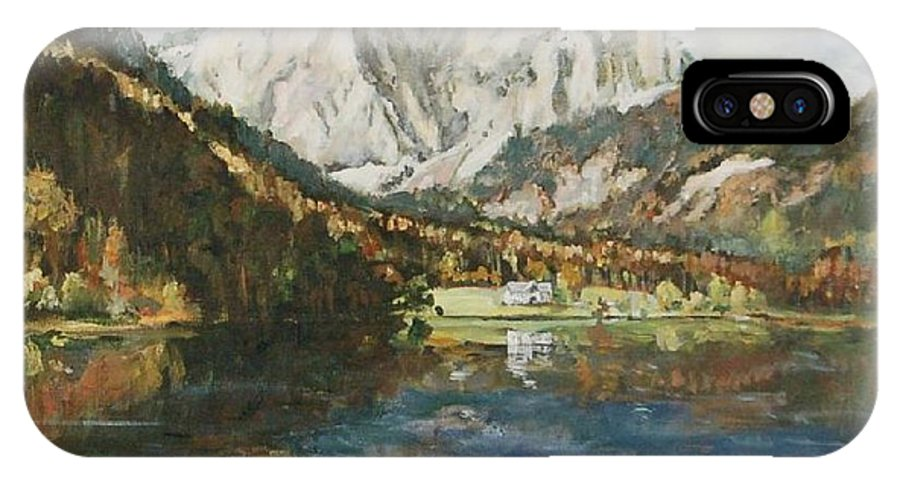 Landscape IPhone X Case featuring the painting Langbathsee Austria by Ingrid Dohm