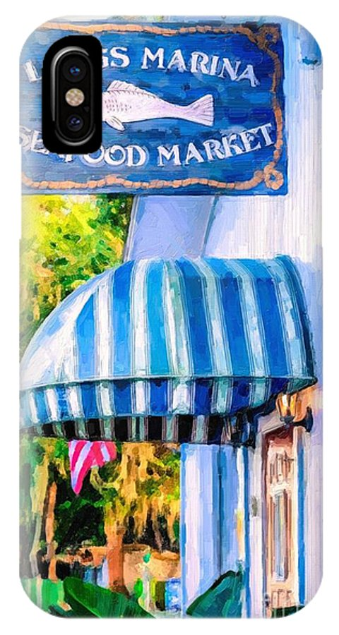 Lang's Marina IPhone X Case featuring the painting Lang's Marina Seafood Market by Tammy Lee Bradley