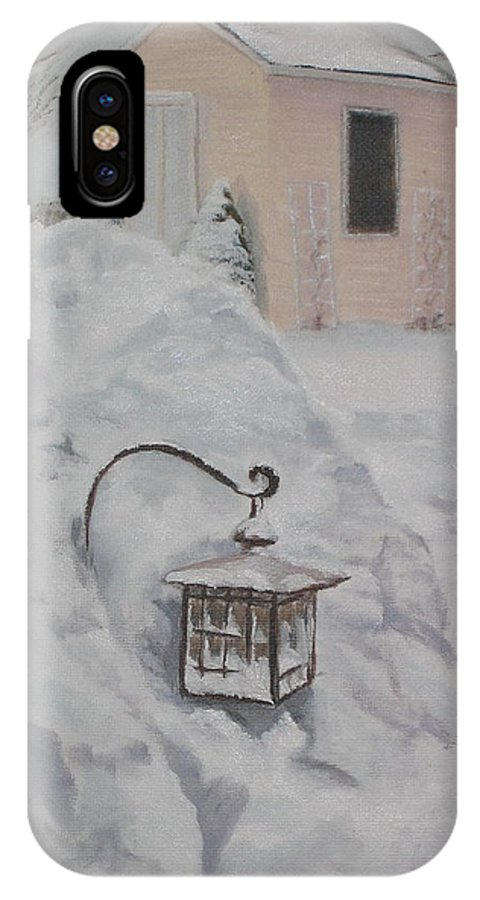 Snow IPhone X Case featuring the painting Lantern In The Snow by Lea Novak