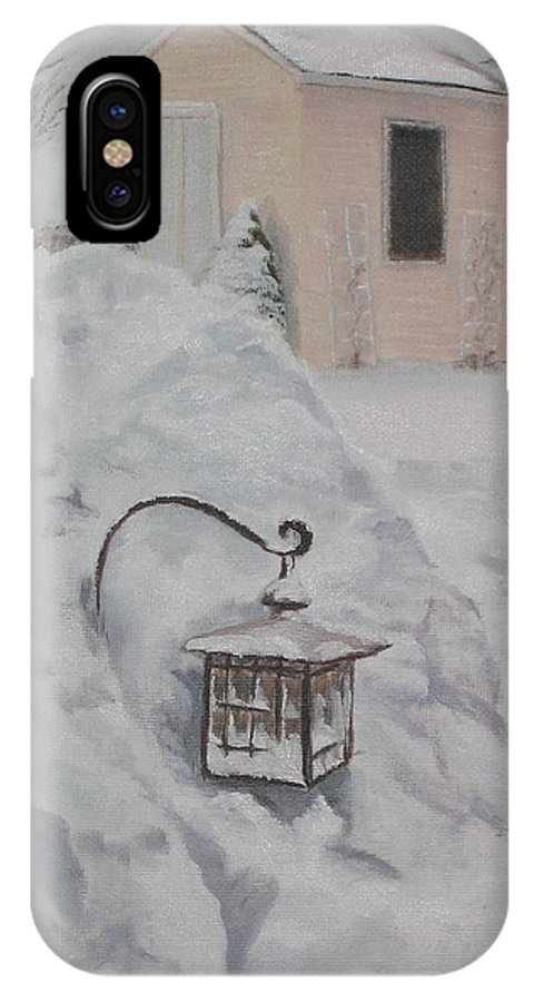 Snow IPhone X / XS Case featuring the painting Lantern In The Snow by Lea Novak