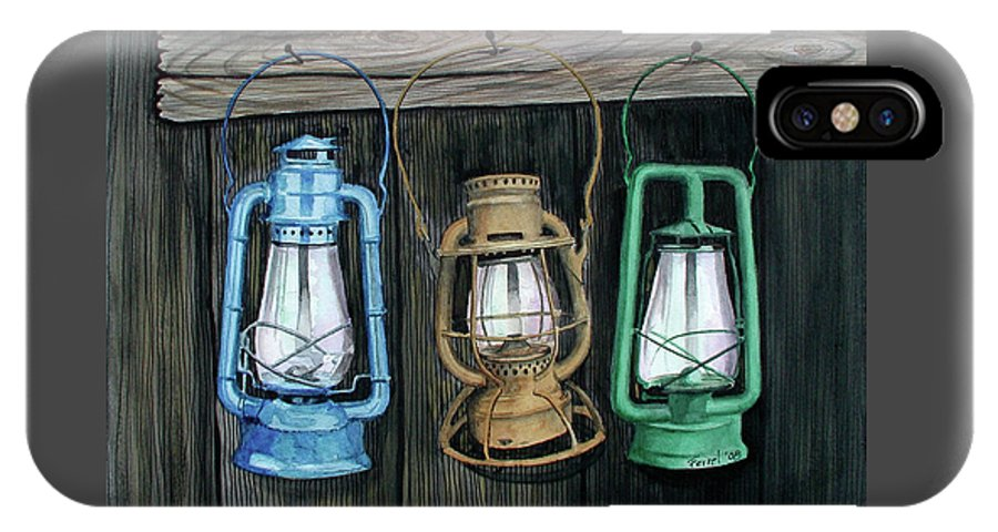 Lanterns IPhone X Case featuring the painting Lanterns by Ferrel Cordle
