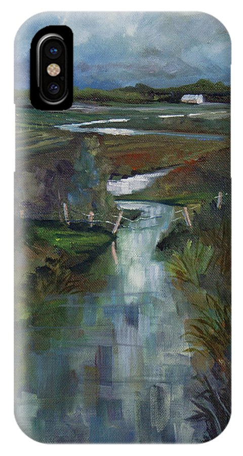 River IPhone Case featuring the painting Laramie River Valley by Heather Coen