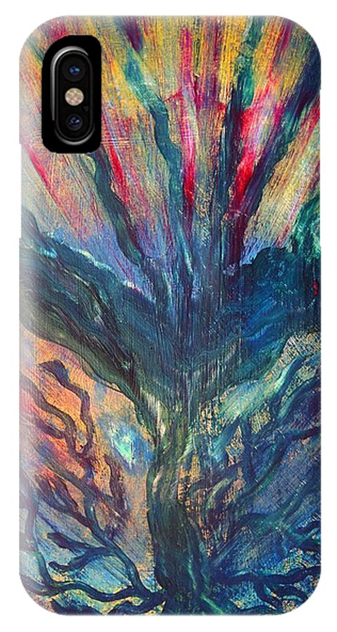 Blue Tree IPhone X Case featuring the painting L'arbre En Feu by Valerie Dauce