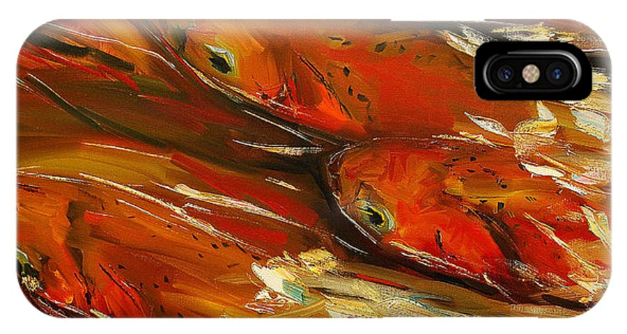 Trout IPhone Case featuring the painting Large Trout Stream Fly Fish by Diane Whitehead