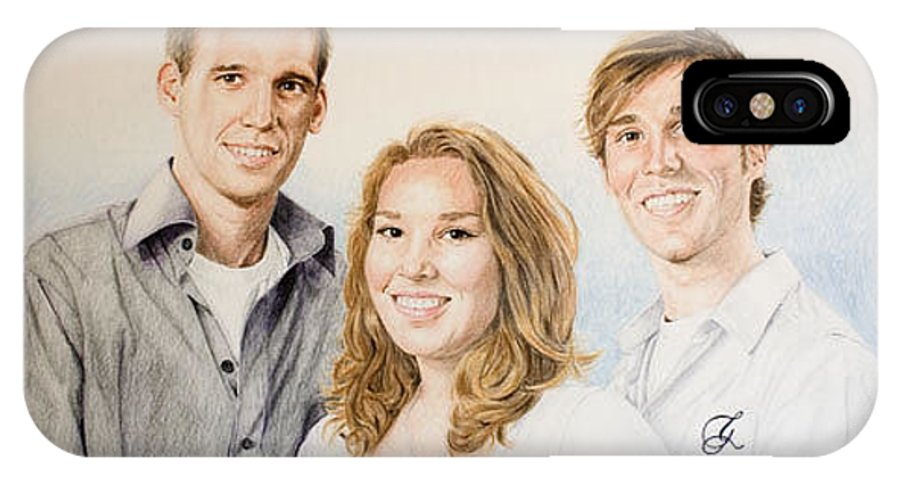 Portrait IPhone X Case featuring the drawing Lars Niels And Ilse by Rob De Vries