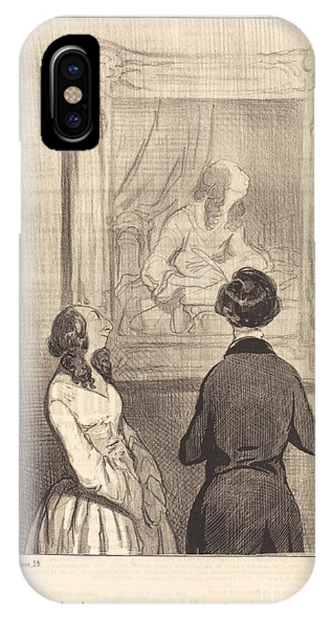 IPhone X Case featuring the drawing L'artiste M'a Repr?sent?e Au Moment Ou J'?cris by Honor? Daumier