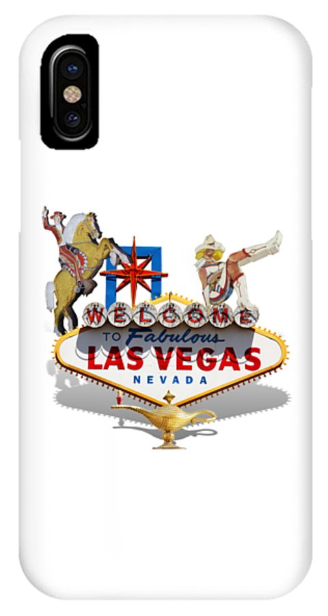 Las Vegas IPhone X Case featuring the mixed media Las Vegas Symbolic Sign On White by Gravityx9 Designs