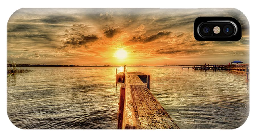 Dock IPhone X Case featuring the photograph Last Call At Sunset Dock by Ronald Kotinsky