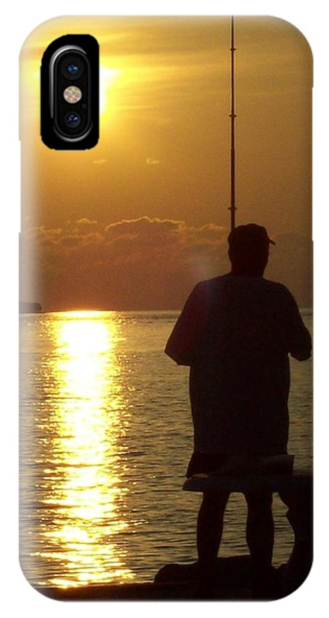 Fishing IPhone X Case featuring the photograph Last Cast by Nancy Taylor