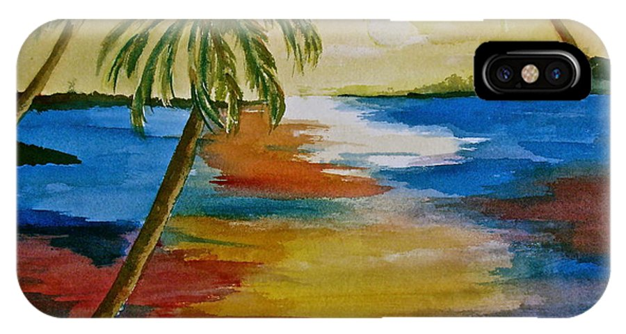 Colorful IPhone X Case featuring the painting Last Light by Donna Steward
