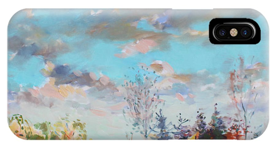 Landscape IPhone X Case featuring the painting Late Afternoon by Ylli Haruni