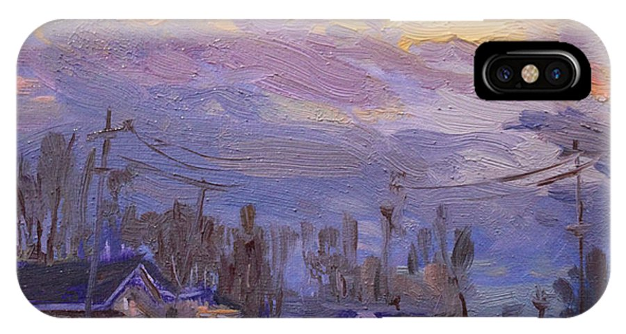 Late Evening IPhone X Case featuring the painting Late Evening In Town by Ylli Haruni