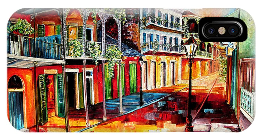 New Orleans IPhone X Case featuring the painting Late On Royal Street by Diane Millsap