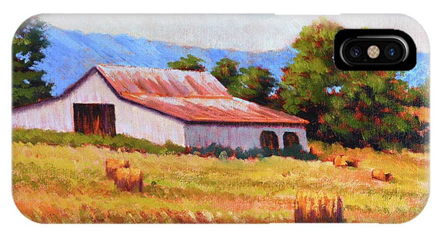 Impressionism IPhone X Case featuring the painting Late Summer Hay by Keith Burgess