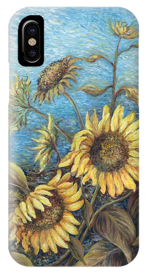 Sunflowers IPhone X Case featuring the painting Late Sunflowers by Valerie Meotti