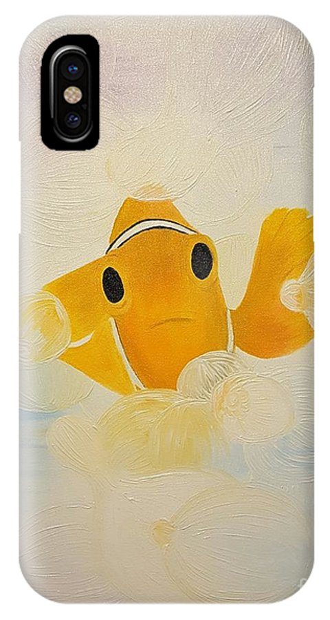 Clown Fish IPhone X / XS Case featuring the painting Laugh A Little by Roxane Gabriel