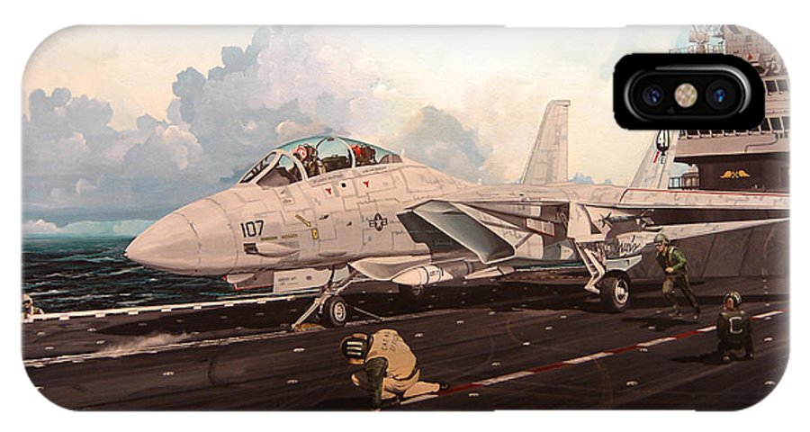 Military IPhone X Case featuring the painting Launch The Alert 5 by Marc Stewart