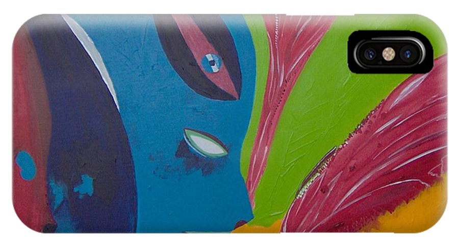 Red IPhone X Case featuring the painting Laune des Fauns by Michael Puya