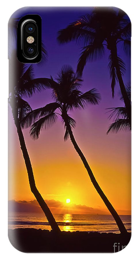 Sunset IPhone X / XS Case featuring the photograph Launiupoko Sunset by Jim Cazel