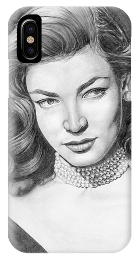 Actress IPhone X Case featuring the drawing Lauren Bacall by Rob De Vries