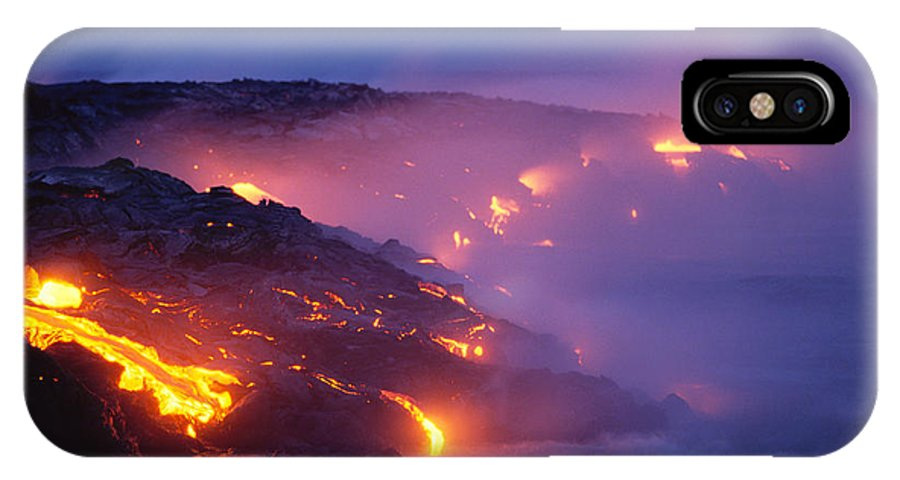 A'a IPhone X Case featuring the photograph Lava At Twilight by Peter French - Printscapes
