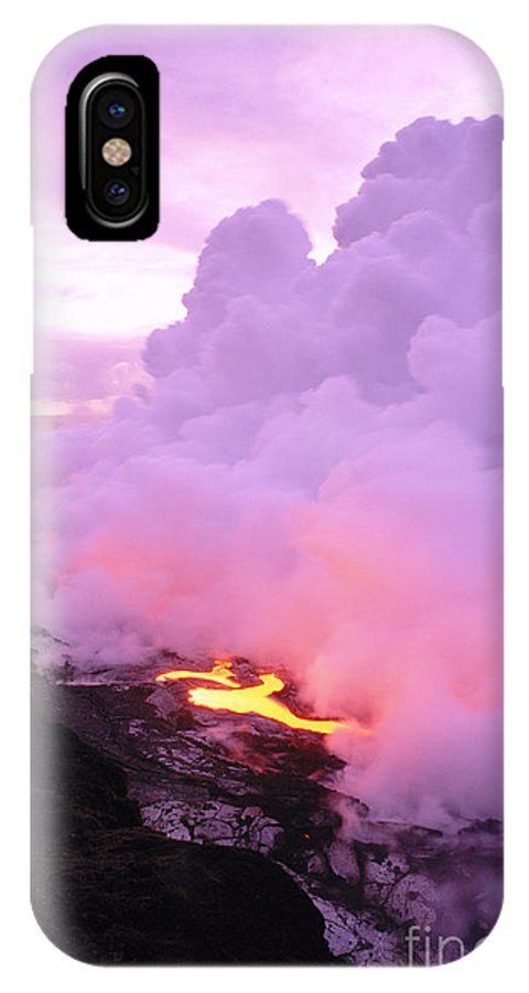 A'a IPhone X Case featuring the photograph Lava Enters Ocean by Peter French - Printscapes