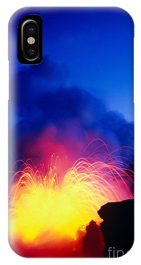 A'a IPhone X Case featuring the photograph Lava Explodes by Greg Vaughn - Printscapes