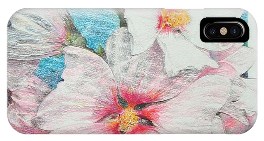 Flower IPhone Case featuring the painting Lavater by Muriel Dolemieux