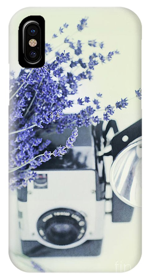 Lavender IPhone X Case featuring the photograph Lavender And Kodak Brownie Camera by Stephanie Frey