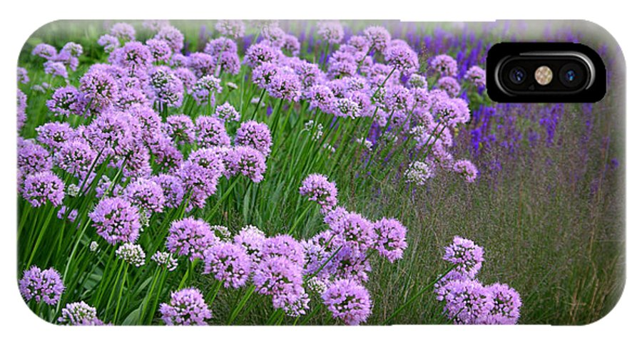 Lavender IPhone X Case featuring the photograph Lavender Field by Linda Mishler