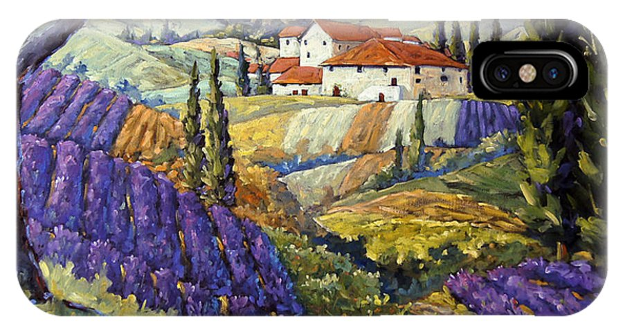 Canadian Artist Painter IPhone X Case featuring the painting Lavender Fields Tuscan By Prankearts Fine Arts by Richard T Pranke