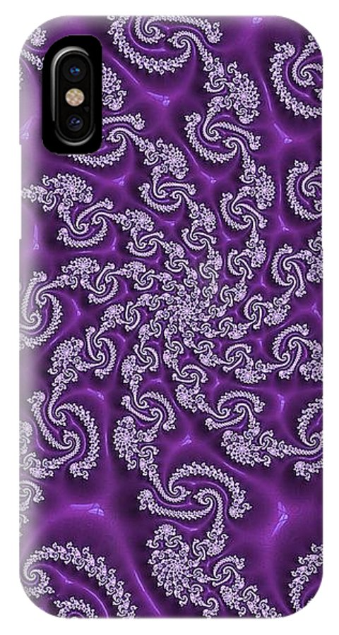 Fractal Art IPhone X / XS Case featuring the digital art Lavender Fractal by Amy Anderson