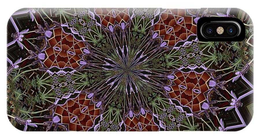Buddhism IPhone X Case featuring the digital art Lavender Mandala 1 by Julia Underwood