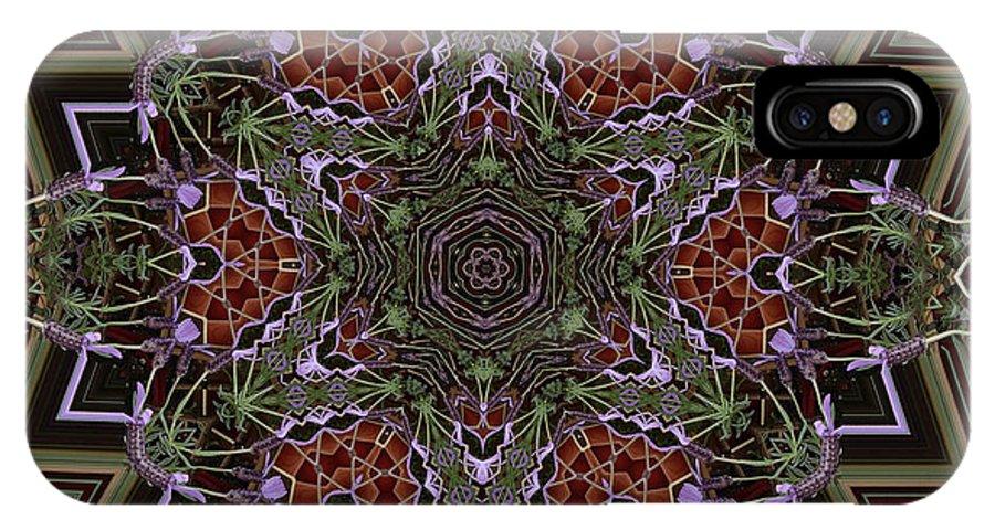 Buddhism IPhone X Case featuring the digital art Lavender Mandala by Julia Underwood
