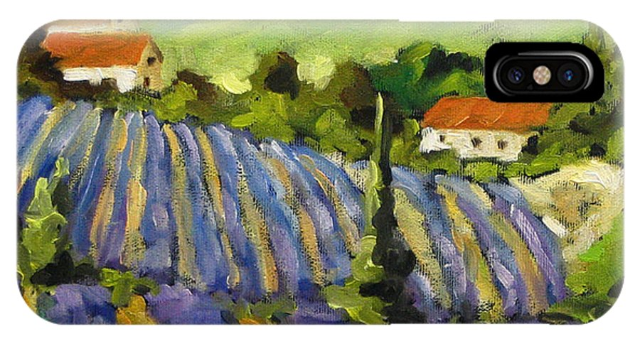 Art IPhone X Case featuring the painting Lavender Scene by Richard T Pranke