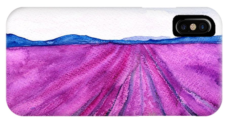 Lavender Field IPhone X Case featuring the painting Lavender by Sweeping Girl