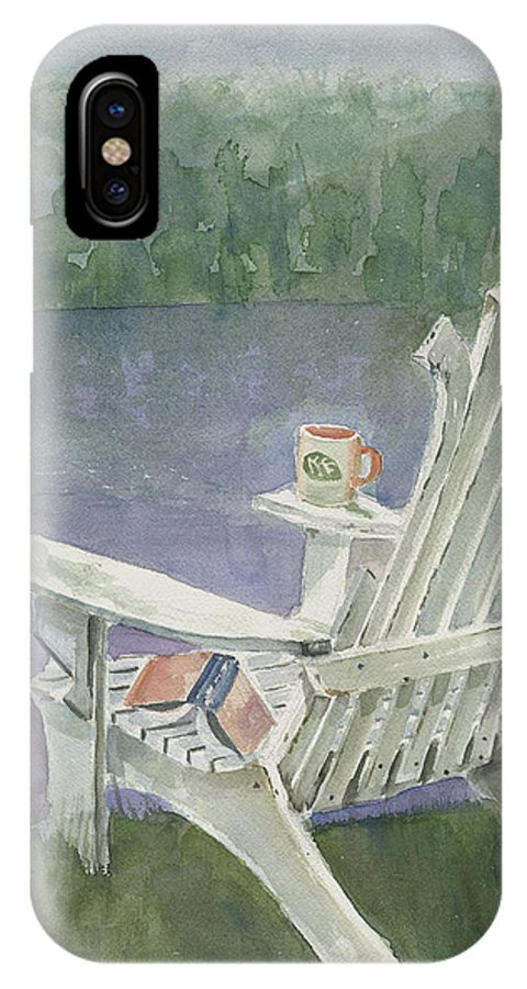 Chair IPhone X Case featuring the painting Lawn Chair By The Lake by Arline Wagner