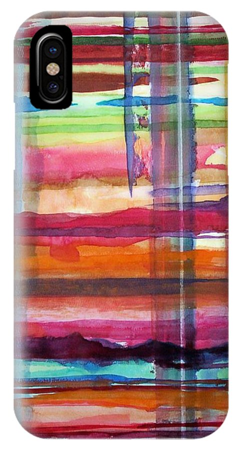 Abstract IPhone X / XS Case featuring the painting Layered by Suzanne Udell Levinger
