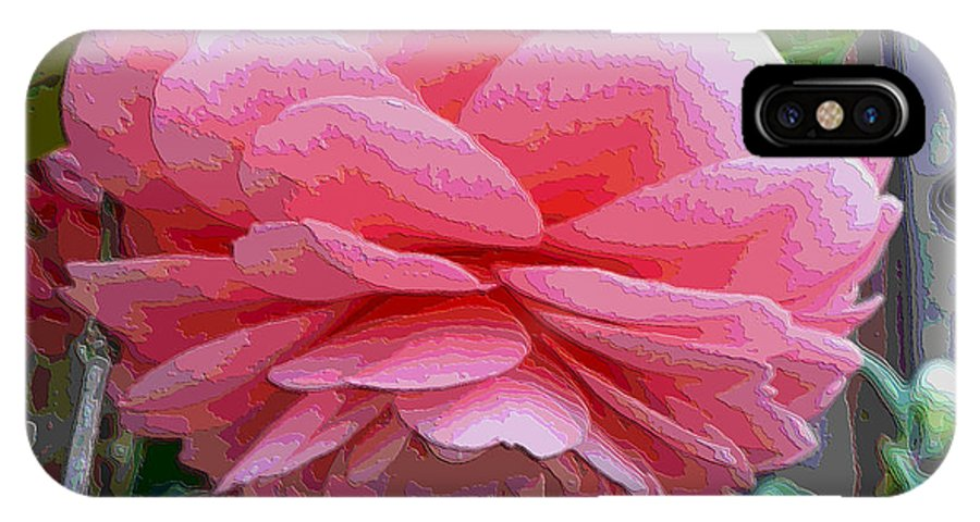 Pink Camellia IPhone X Case featuring the photograph Layers Of Pink Camellia - Digital Art by Carol Groenen