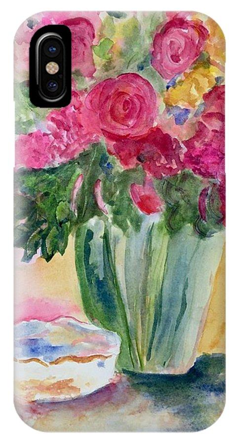 Flowers IPhone X Case featuring the pastel Le Fleur by Denise Mc Nellis