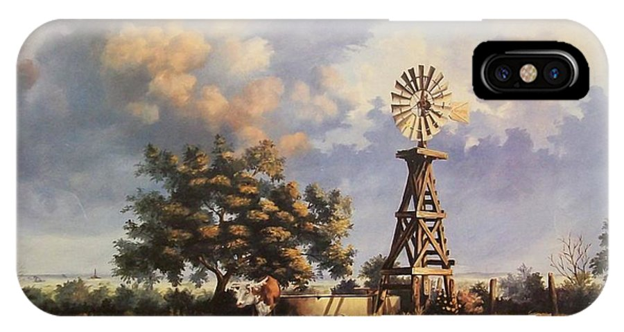 A New Mexico Landscape. IPhone X Case featuring the painting Lea County Memories by Wanda Dansereau