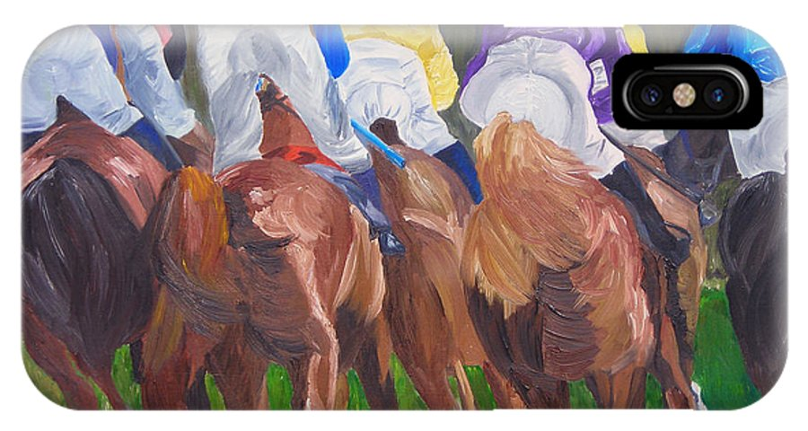 Horse Racing IPhone Case featuring the painting Leading The Pack by Michael Lee