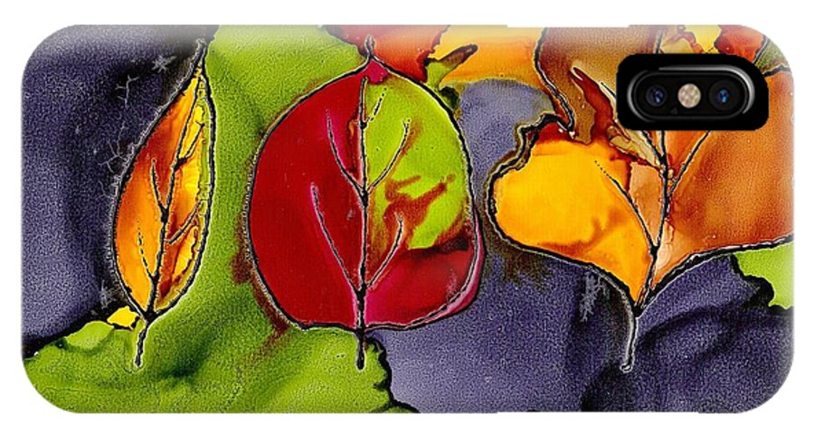 Leaf IPhone X Case featuring the painting Leaf Brilliance by Susan Kubes
