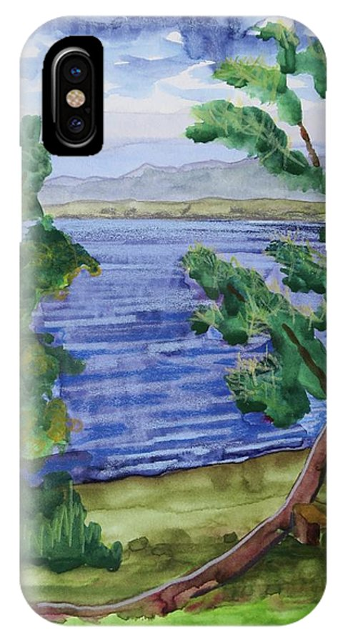 Great Sacandaga Lake IPhone X Case featuring the painting Leaning Tree By Lake Sacandaga by Bethany Lee