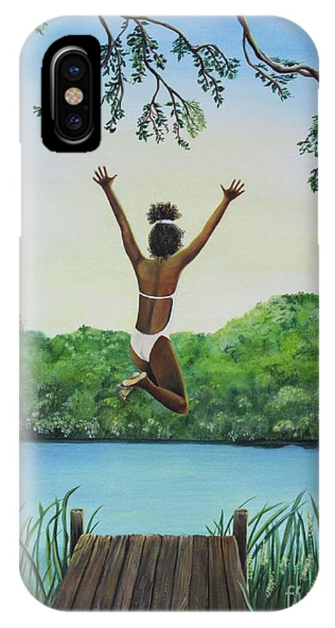 Summer Vacation IPhone X Case featuring the painting Leap Of Faith by Kris Crollard