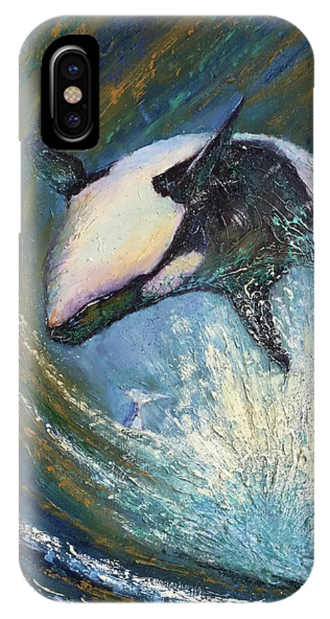 Killer Whale IPhone X Case featuring the painting Leap Of Joy by Diane Quee