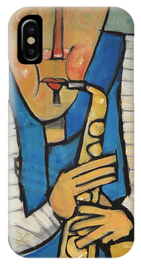 Sax IPhone X Case featuring the painting Learn To Work The Saxophone by Tim Nyberg