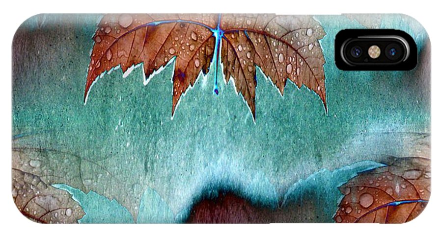 Leaves IPhone X Case featuring the photograph Leaves And Rain 6 by Tim Allen